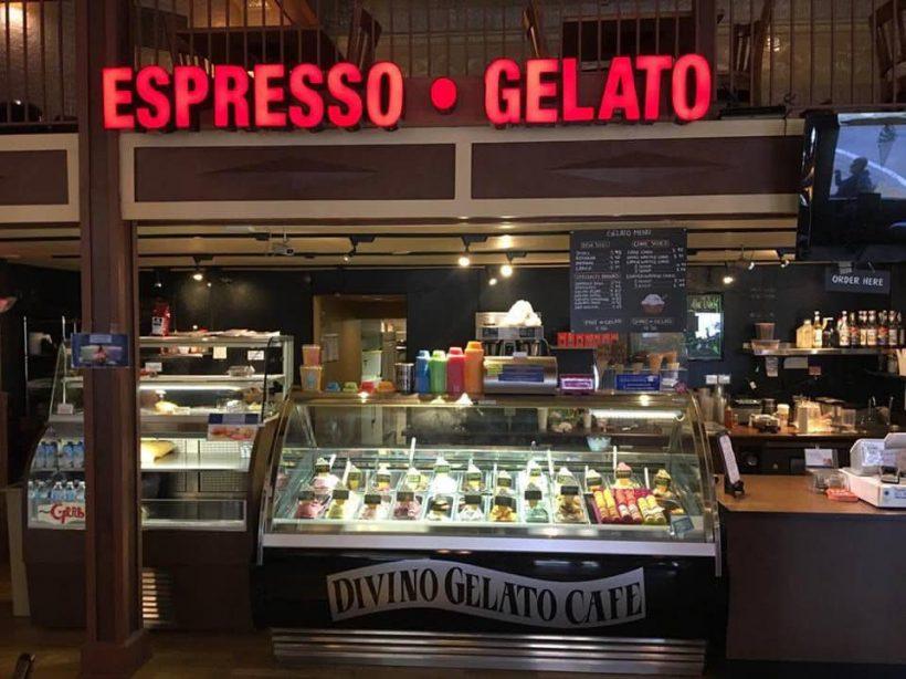 The inside of Divino Gelato cafe.