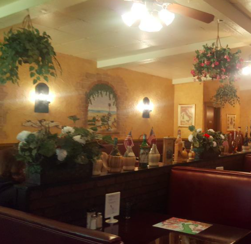 Booths at Mia's Italian restaurant.