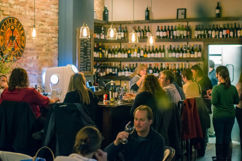 People wining and dining at the spring city wine house.