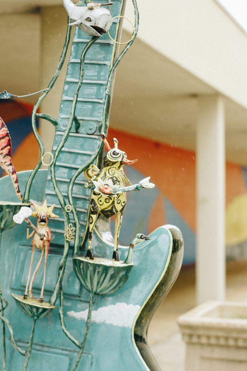 A guitar sculpture outside in Waukesha.